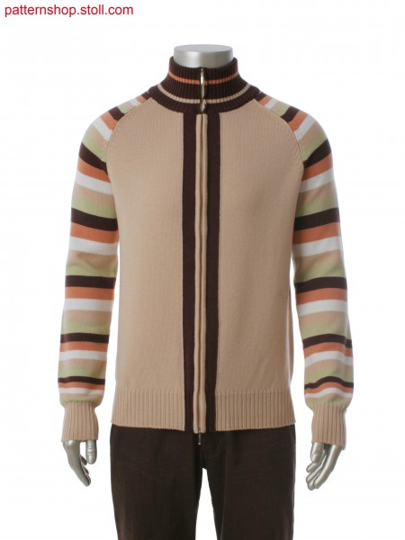 Fully Fashion cardigan in 2-color intarsia and sleeve with multi color stripes