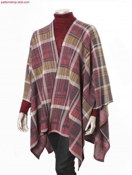 Poncho with woven-like tartan pattern / Poncho mit web