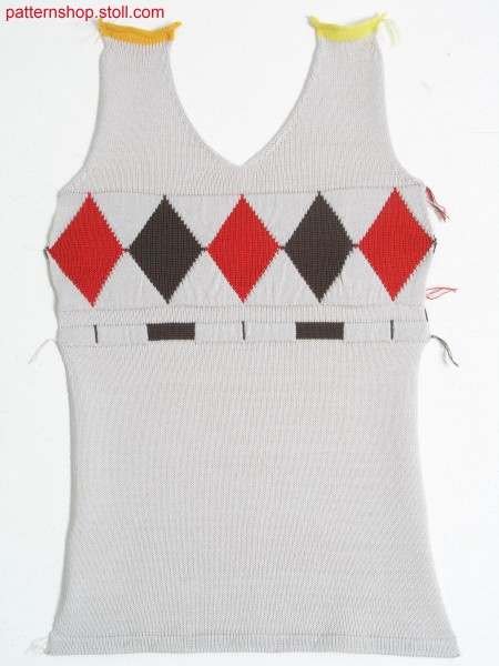 Fully Fashion jersey front with jacquard borders / Fully Fashion Rechts-Links Vorderteil mit Jacquardbord