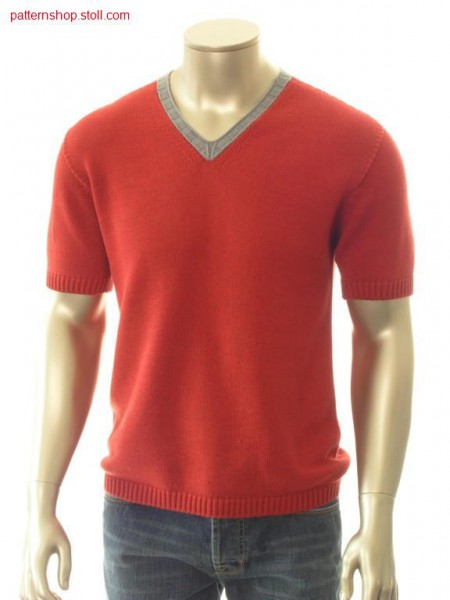 Short-sleeved jersey pullover with inserted sleeves / Rechts-Links Kurzarmpullover mit eingesetzten