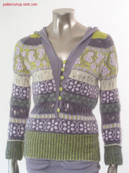 FF-jacquard hooded raglan pullover with pointelle structure / FF-Jacquard Kapuzenraglanpullover mit Petinetstruktur