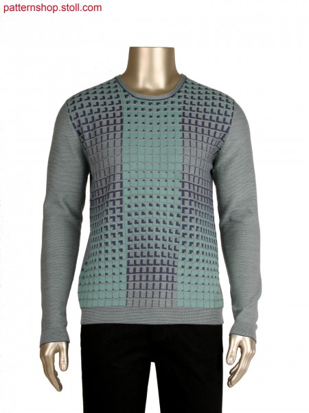 Fully fashion pullover, body in 3 colour relief jacquard
