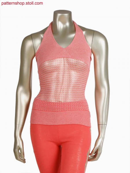 Stoll-knit and wear&reg top, 2 colour stripe with float jacquard as shaping detail
