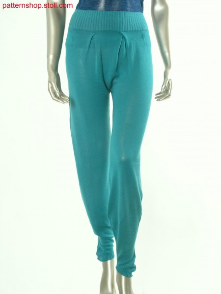 Jersey trousers with overlapping pleats on the waist / Rechts-Links Hose mit
