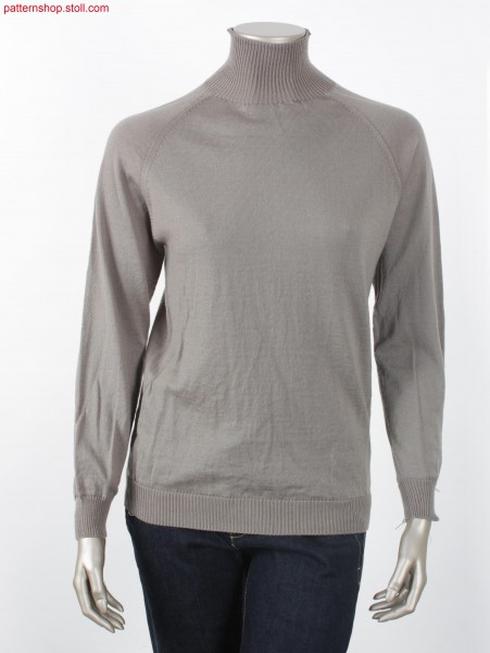Jersey raglan pullover with high 1x1 rib collar / Rechts-Links Raglanpullover mit hohem Kragen in 1x1 Rippe