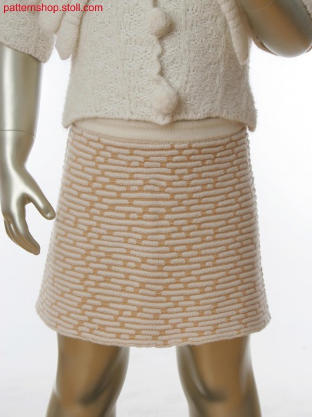 Fully Fashion skirt with alternate knitting, holding stitch and single jersey structure