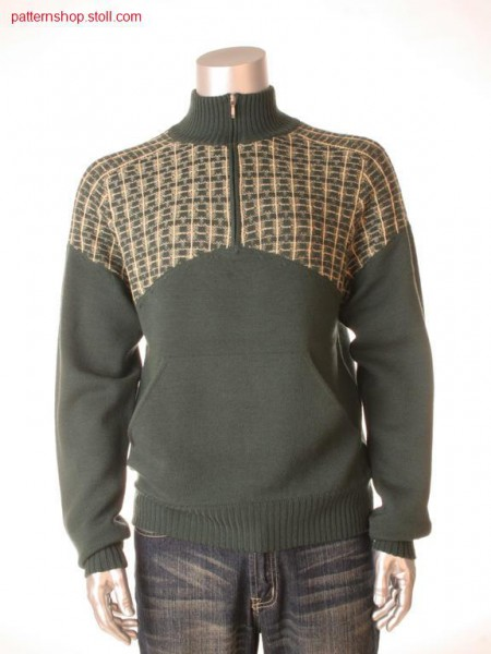 Fully Fashion-jersey pullover with kangaroo pocket / Fully Fashion-Rechts-Links Pullover mit K