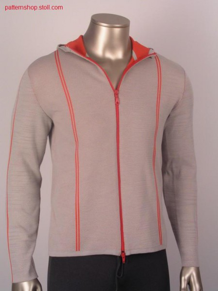 FF-sport cardigan with hood in cross tubular / FF-Sport-Strickjacke mit Kapuze in Kreuzschlauch