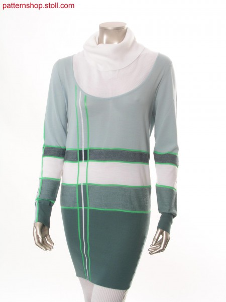 Striped Fully Fashion-intarsia long-pullover / Langer, gestreifter Fully Fashion-Intarsia Pullover