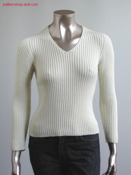 Pullover with v- neck and insert sleeve