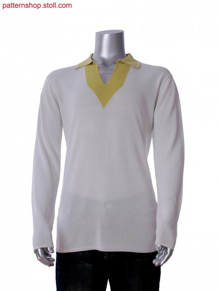 Fully Fashion 2-color  intarsia  T-shirt with pointelle on collar and sleeve
