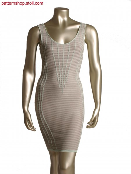 Stoll-flexible gauge&reg, Fully Fashion dress in 14gg optic, 2 colour stripe with holding stitch