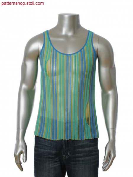 Cut and Sew 3-color intarsia tank-top (16IYF). Float structure and slit opening.
