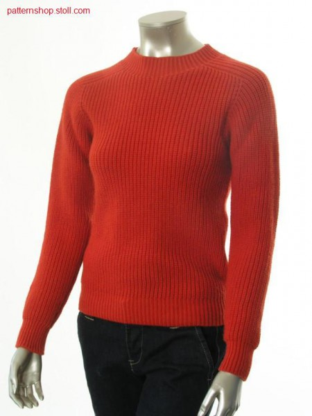 Pullover in half-cardigan with saddle shoulder / Perlfang-Pullover mit Sattelschulter