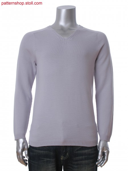 Men's pullover with saddle shoulder and V-neck in rib structure