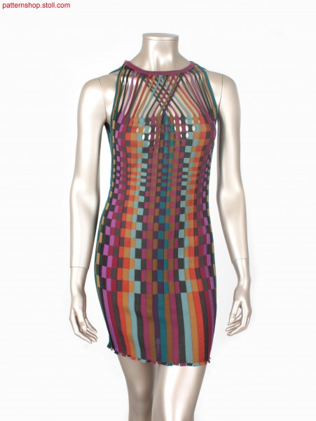 Intarsia rib dress with separate tubular starts / IntarsiaKleid mit Rippen und separaten Schlauchanf