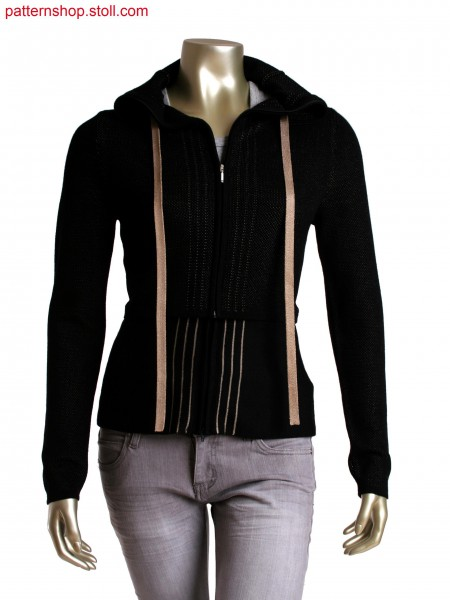 Fully fashion cardigan in 2 colour double bed structure, detachable extension converts to a bag