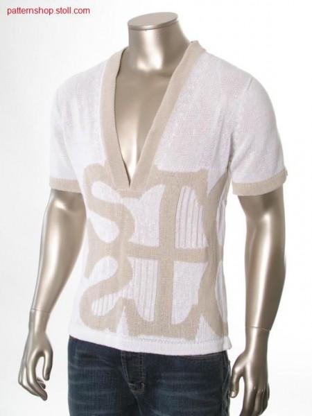 Short-sleeved pullover with 2-colour jacquard motif / Kurzarmpullover mit 2-farbigem Jaquardmotiv