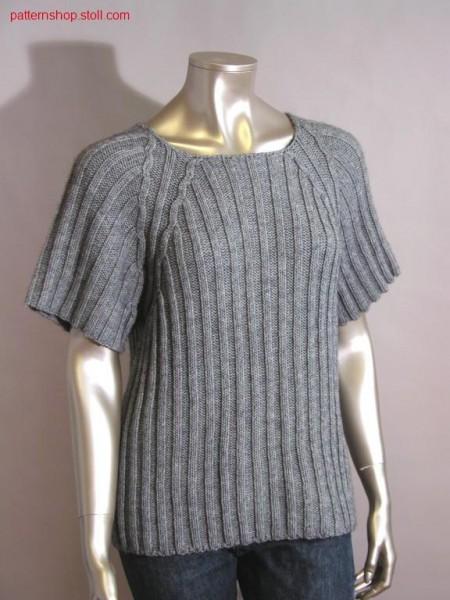 Short-sleeve raglan pullover in 2x3 rib / Kurzarm Raglanpullover in 2x3 Rippe