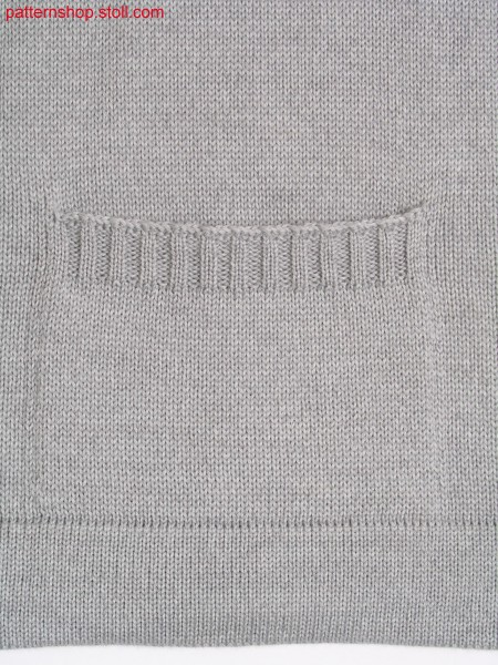 Jersey knitted fabric in 1x1 technique with pocket / Rechts-Links Gestrick in 1x1 Technik mit Tasche
