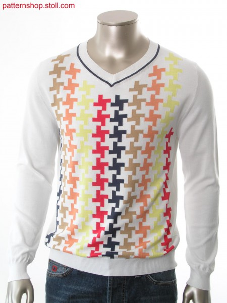 Fully Fashion-intarsia pullover with hound's tooth check / Fully Fashion-Intarsia Pullover mit Hahnentrittmuster