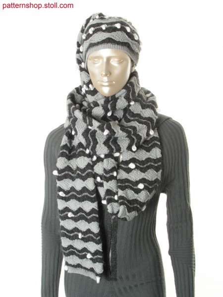 Scarf with integrated cap in jersey-pointelle structure / Schal mit integrierter M