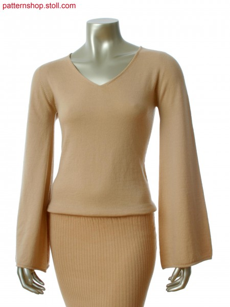 Stoll-knit and wear&reg Pullover with single jersey in all needle, saddle shoulder and trumpet sleeve