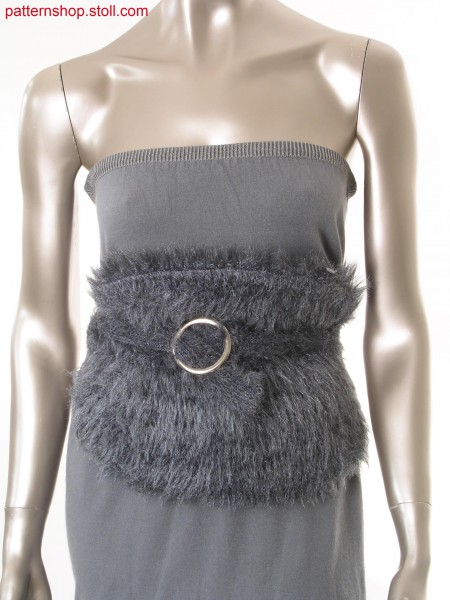 Belt bag in fake fur with floated fancy yarn / G