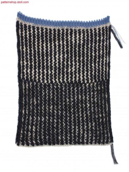Swatch in 2-colour 1x2 rib full cardigan rack stitch / Musterausschnitt in 2-farbigem 1x2 Ripp-Fangversatz