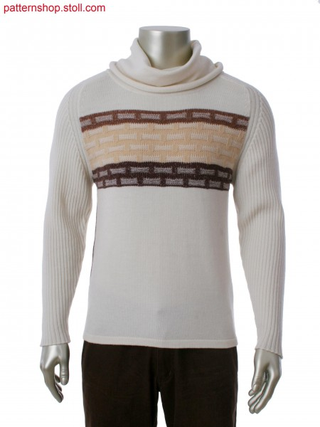 Fully Fashion pullover with tube-hood collar, 3-color plating stripes and 2-color intarsia