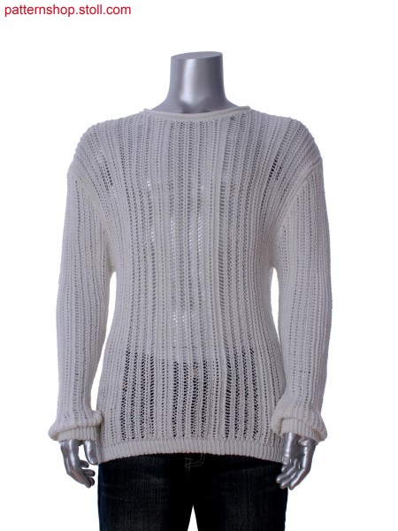Fully Fashion pullover with poitelle, tuck structure and 1x1cables