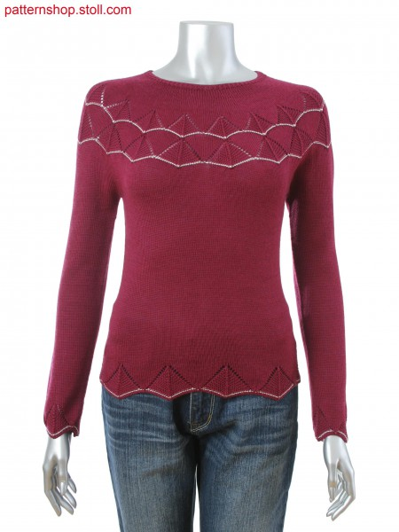 Fitted women's fair isle pullover with purl-pointelle structure and fancy thread stripe