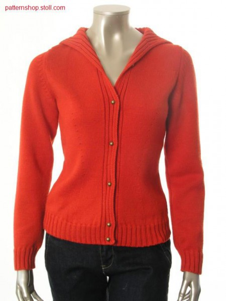 Fitted Fully Fashion-jersey cardigan / Taillierte Fully Fashion-Rechts-Links Strickjacke