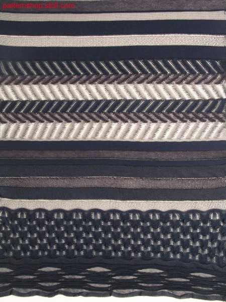 Knitted fabric with gored wave bordure / Gestrick mit gespickelter Wellenbord