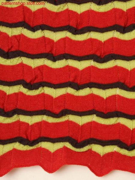 Knitted fabric in 3-color structure with pointelle and ripple structure