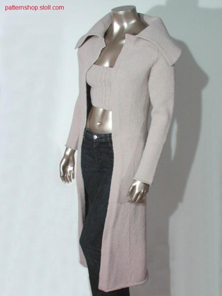 Jersey coat with knitted on collar / Rechts-Links Mantel mit angestricktem Kragen
