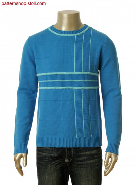 Fully Fashion pullover with intarsia stripes in coarse gaugeand intarsia in/out behind ripples
