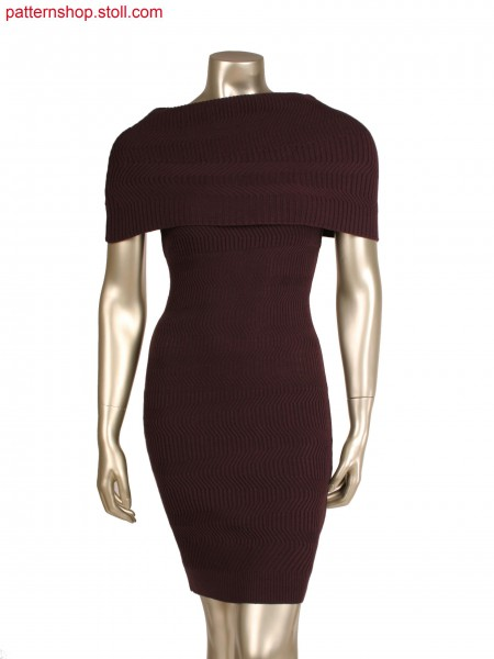 Fully fashion dress with folded collar, aran in 4x2 rib structure