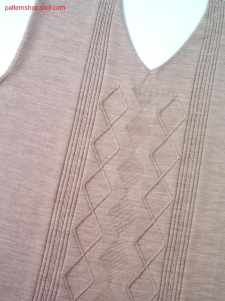 Fully fashion front with 2x3 cables and 2 needles aran / Fully Fashion Vorderteil mit 2x3 Z