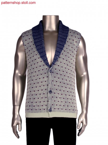 Stoll-multi gauges&reg, Fully Fashion waistcoat in 1x1 technique, 3 colour half cardigan structure in 3gg optic