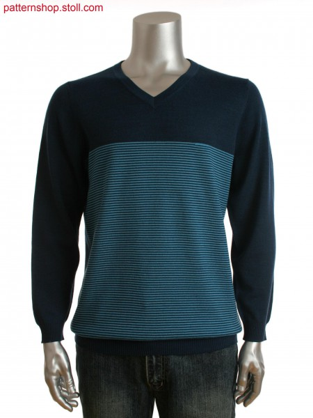 Fully Fashion men's V-neck sweater with fine stripes and asmall gored detail on front