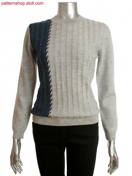 Fully Fashion women's crew-neck sweater with cable patternon front and 2-color intarsia cable connection