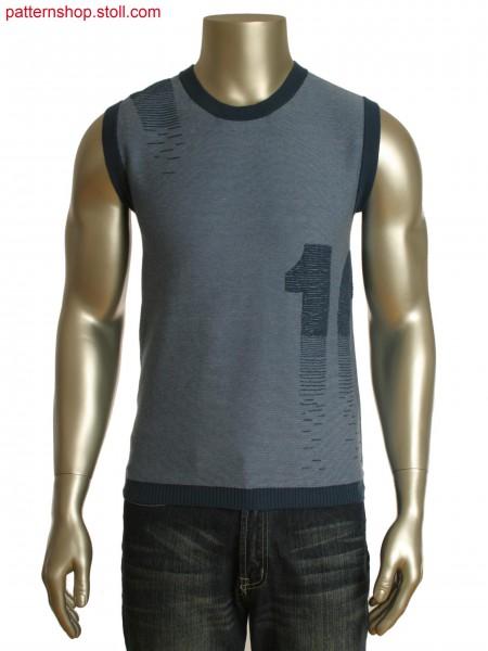 Fully Fashion 2-color striped slipover with plush technique motif