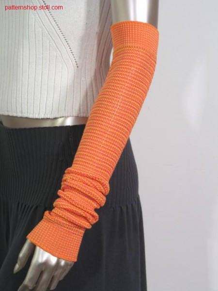 3-colours arm warmer in pointelle structure / 3-farbige Armstulpe in Petinetstruktur