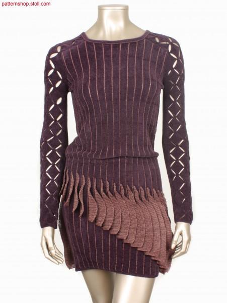 Dress knitted in 1x1 technique, with purl stripes / Kleid in 1x1 Technik gestrickt, mit Links-Links Ringel