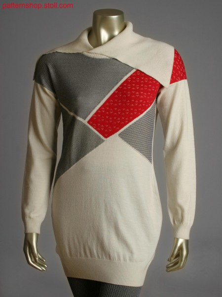 Fully Fashion pullover with overlapping turndown collar and asymmetric patchwork intarsia