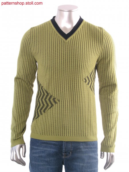 Fully Fashion pullover with half-tubular ribs / Fully Fashion Pullover mit Halbschlauch-Rippe