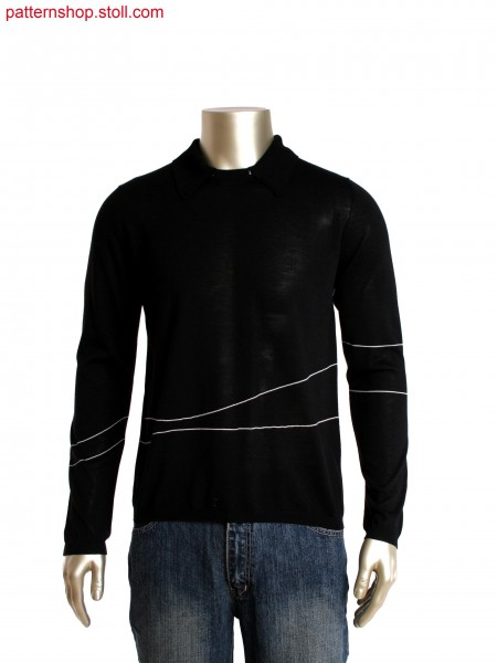 Fully Fashion round neck pullover with detachable 2x2 rib polo collar, stripes in gore technique