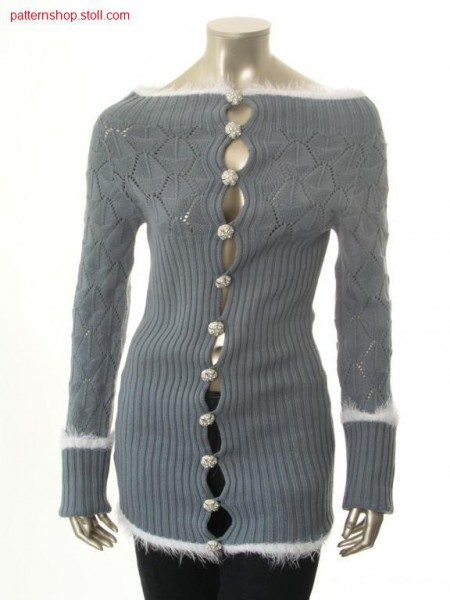 Cardigan in 2x2 rib with pointelle leaf motive / Strickjackein 2x2 Rippe mit Petinet Blattmotiv