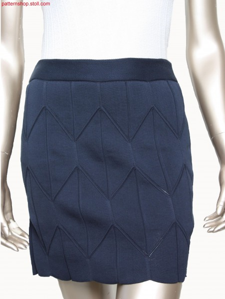 Skirt in double jersey with rhombic wave pattern / Rock inRechts-Rechts mit Nadelzug, Rauten-Wellenmusterung